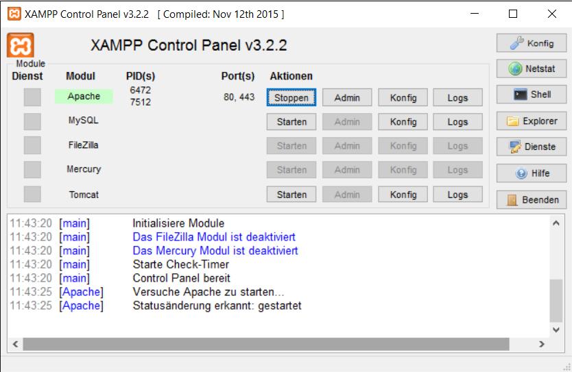 Das XAMPP Control Panel